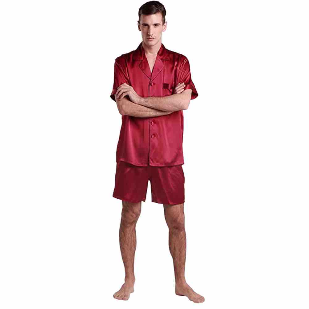 red silky pjs for man